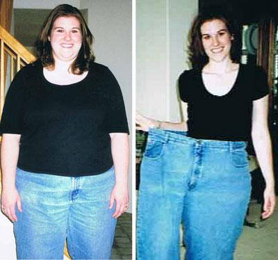 woman before and after fat loss