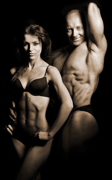 male and female bodybuiders